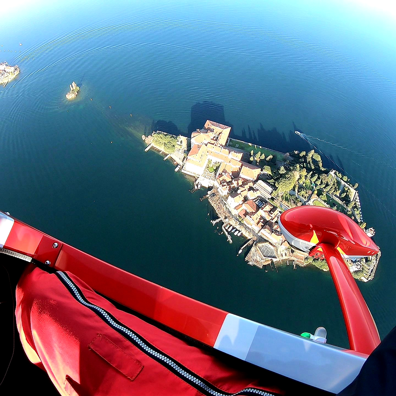 In flight over Lake Maggiore and the Borromeo islands
